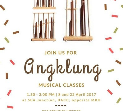 Angklung Class on 8 and 22 April 2017 from 1.30 – 3 pm