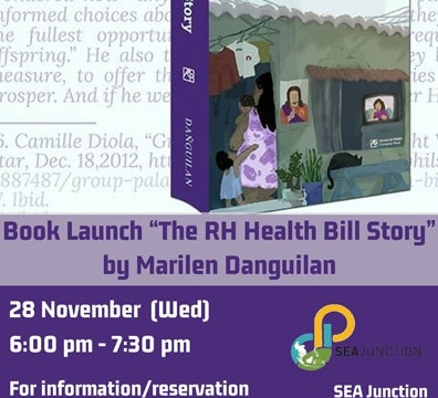 "Book Launch ""The RH Health Bill Story"" by Marilen Danguilan November 28 @ 6:00 pm - 7:30 pm"
