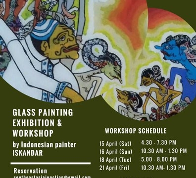 Indonesian Reverse Glass Painting and Wayang Workshop on 15 – 22 April 2017