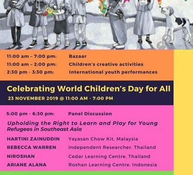 "Panel Discussion ""Upholding the Right to Learn and Play for Young Refugees in Southeast Asia"" 23 November 2019 @ 5:00 pm - 6:30 pm"
