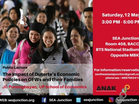 "Public Talk ""The Impact of Duterte's Economic Policies on OFWs and their Families"" May 12 @ 3:00 pm - 5:00 pm"