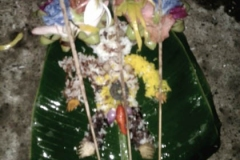 Multicolored figure offered with incense, holy water, flowers and rice. (Photo by Garrett Kam)