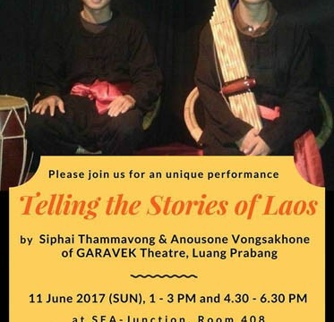 Telling the stories of Laos on 11 June 17 at 1 - 3 pm and at 4.30 - 6.30 pm